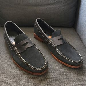 Johnston & Murphy blue suede penny loafers 10.5